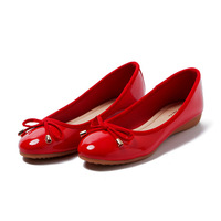 Guangzhou China European Japan Korean Fashion Lady Round toe Comfortable Casual Red Bowknot Soft PU Pumps Flat Shoes