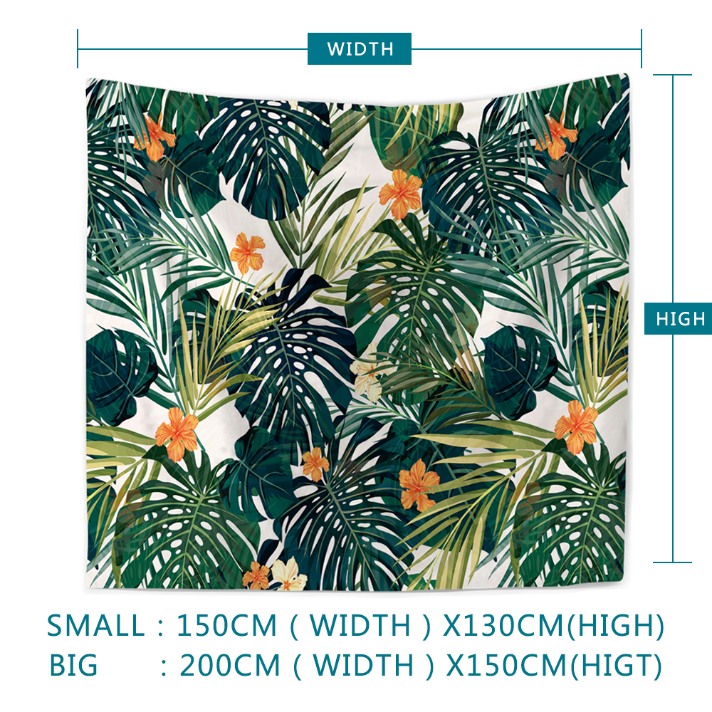 Hd Tropical Plant Palm Leaf Multifunctional Beach Towel Antique Tapestry Wall Hanging Decorative