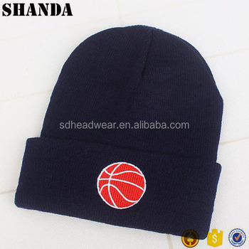 5e2a4be7 In stock winter sports ball logo cuff knit beanies with custom embroidery