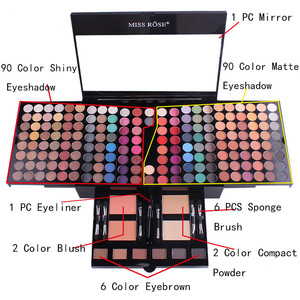MISS ROSE 180 colors matte nude shimmer eyeshadow palette makeup set with brush mirror Shrink professional Cosmetic makeup kit