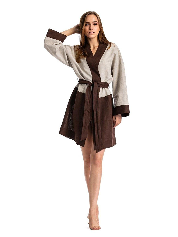 e55b9b644 Get Quotations · ETNODIM Women Bathrobe Linen Brown Beige Long Sleeve Robe  Spa Bathrobe Luxury Robe