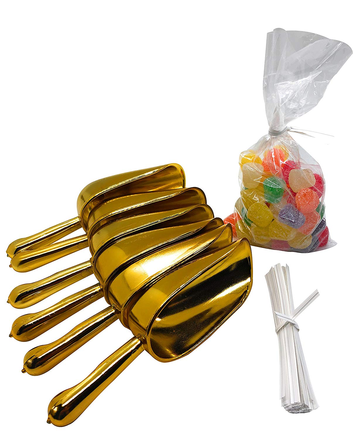 Candy Buffet Supplies: Set of Candy Buffet Scoops and Candy Buffet Bags with Twist Ties (6 Gold Scoops, 50 Clear Bags, Gold)