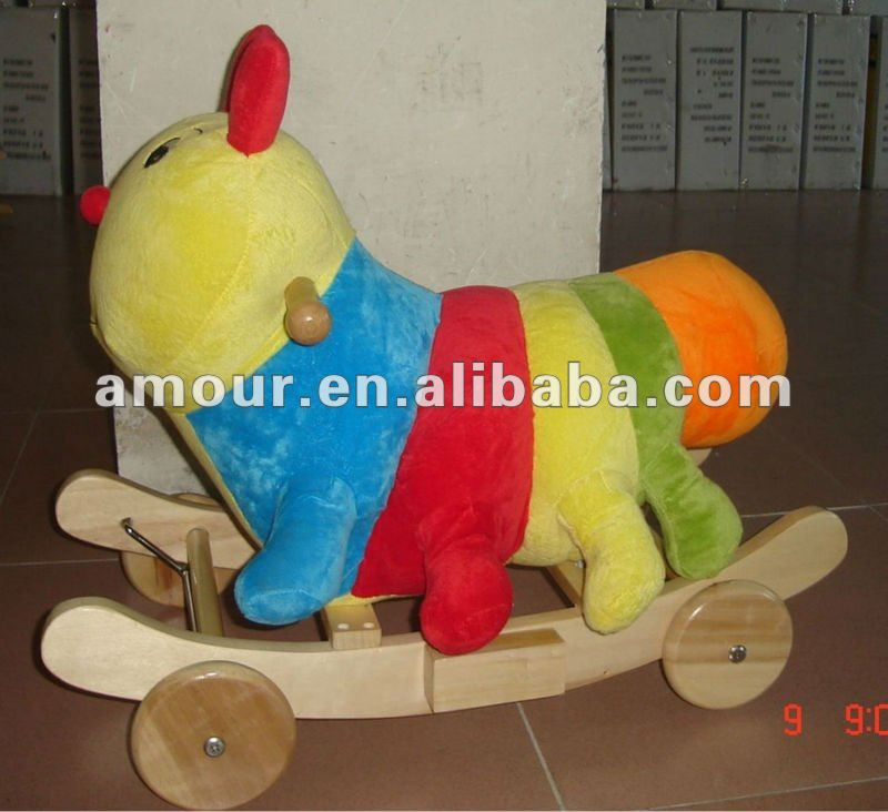 cute soft caterpillar rocking baby toy ride on animal wooden chair 2013 new fun educational kids toy for sale
