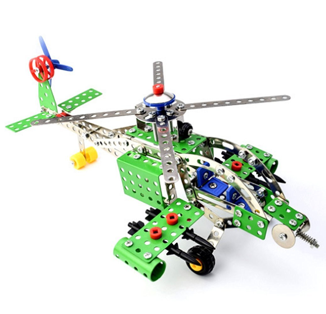 Branew Children's Intelligence Metal Assembled Toys DIY Creative Toys 3D Metal Aircraft Model Assembly Building Blocks