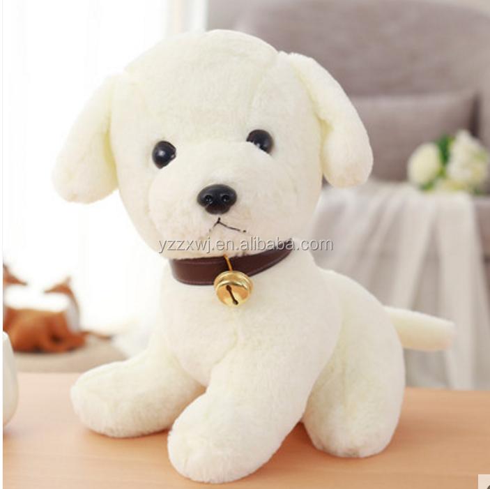 Free Sample White Plush Dog Pug Soft Toy Brown White Dog Plush Toys