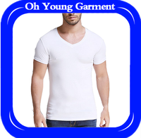 2017 pure white cotton tshirt with spandex,men shirt embroidery design as your requeseted under wear basic style for men