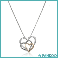 Sterling Silver 14k Rose Gold, and Diamond Triple Heart Pendant Necklace