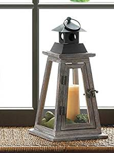 Get Quotations Candle Holders Lanterns Pair Of ELEVATE WOODEN CANDLE LANTERN Rustic Wood Dark Metal Pyramid Design