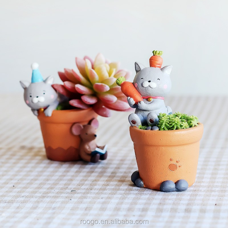 Wholesale Handcraft resin garden decorative flower pots cartoon cat mini plant pots
