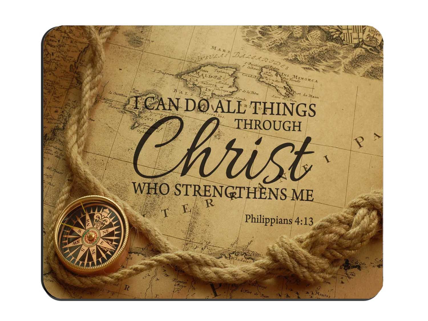 "Christian Bible Verse Mouse Pad, I can do all things through Christ who strengthens Me Cloth Cover 9.45"" X 7.87""X 0.12"""