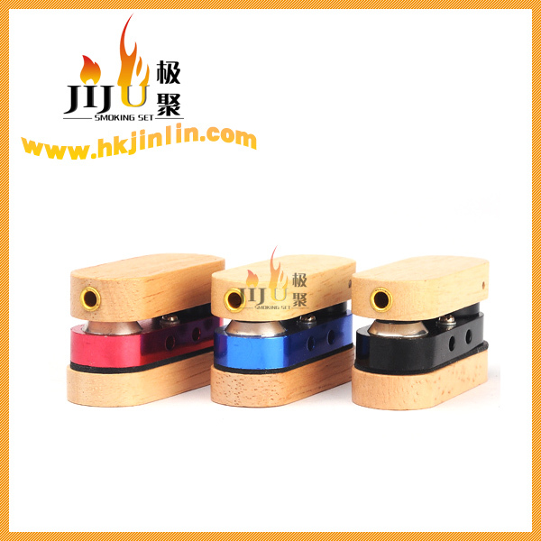 JL-122 Yiwu Jiju China wholesale Metal and Wood Twister Smoking Pipe