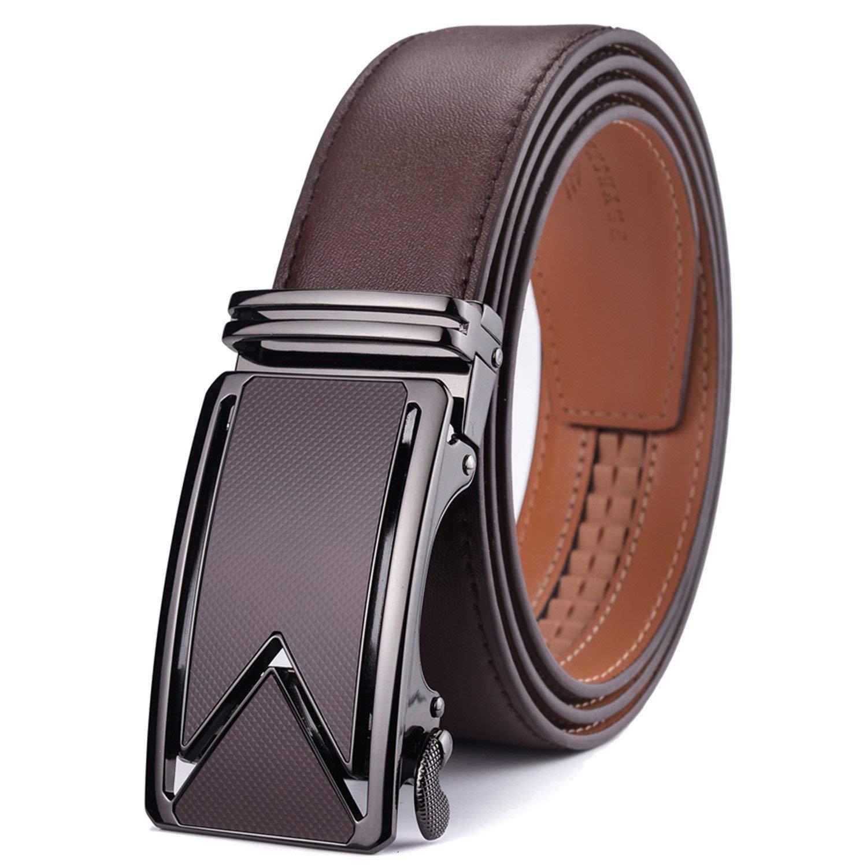 Chiffoned Men Belt 2018 Cowhide Genuine Leather Belts For Men Luxury Automatic Buckle Belts Brown Black Cinturones Hombre Coffee 125Cm