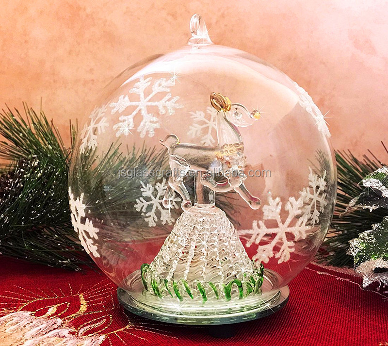 LED Glass Globe Christmas Ornament Reindeer Hand Painted Glitter Snowflakes Color Changing Lights