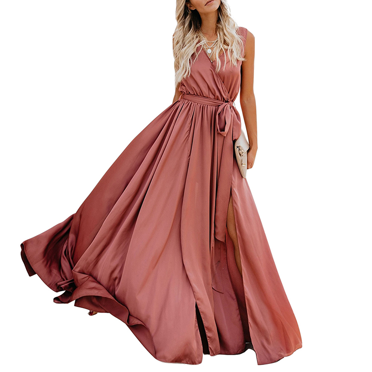 Lover-Beauty Fetching Sleeveless Yellow Waist Solid Color Women Summer Maxi Dress