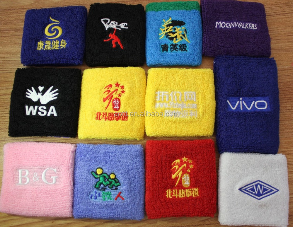 Unisex Custom Cotton Terry Knit Wrist Sweat Bands, Popular Sports Wrist Brace