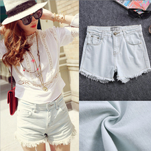 Alibaba Summer Fashion Hot Sexy Thin Denim Short Ladies Casual Torn Hem Metal Button Light Blue Jeans Shorts Women 2016