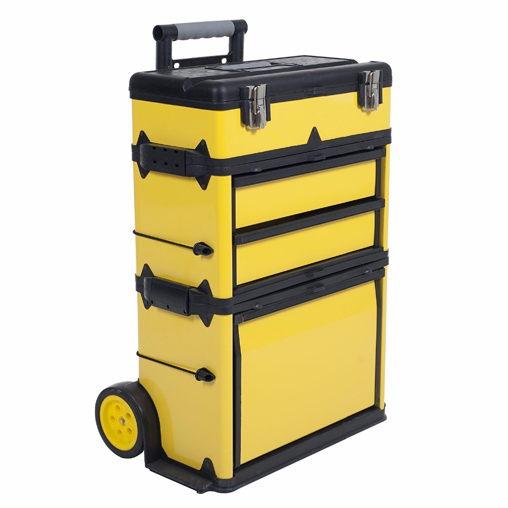 3 in 1 Set 4 Stackable Drawers Tool Box Tool Trolley