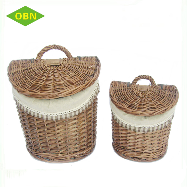Bulk cheap wicker storage hanging wall basket with lid