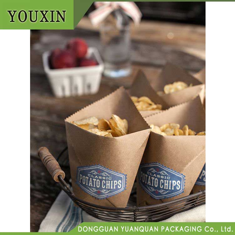 Fast food restaurant eco paper bag for fried food