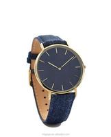 New Fashion Western Cowboys Design DENIM Indigo Strap Quartz Watch Stainless Steel Case