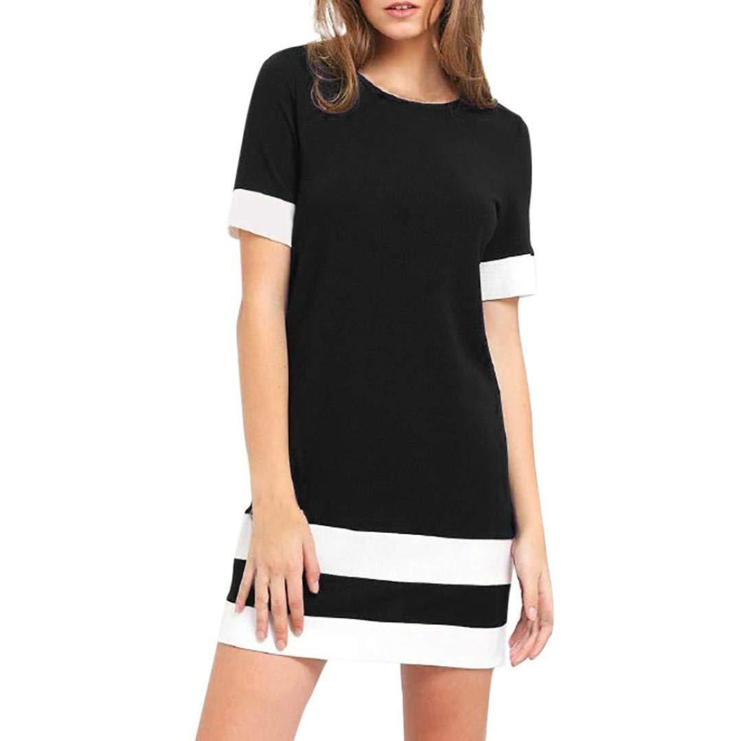 Goodtrade8® Women Summer Floral Bohemian Short Sleeve Elegant Swing Midi Color Block Stripe Mini Sun Dress
