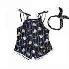 3152/ Children's clothing suspenders with two pieces of broken flowers tassels for leisure girls sets