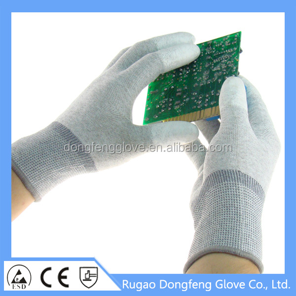13 Gauge Seamless Knitted PU Finger Coated Anti Sweat ESD Gloves