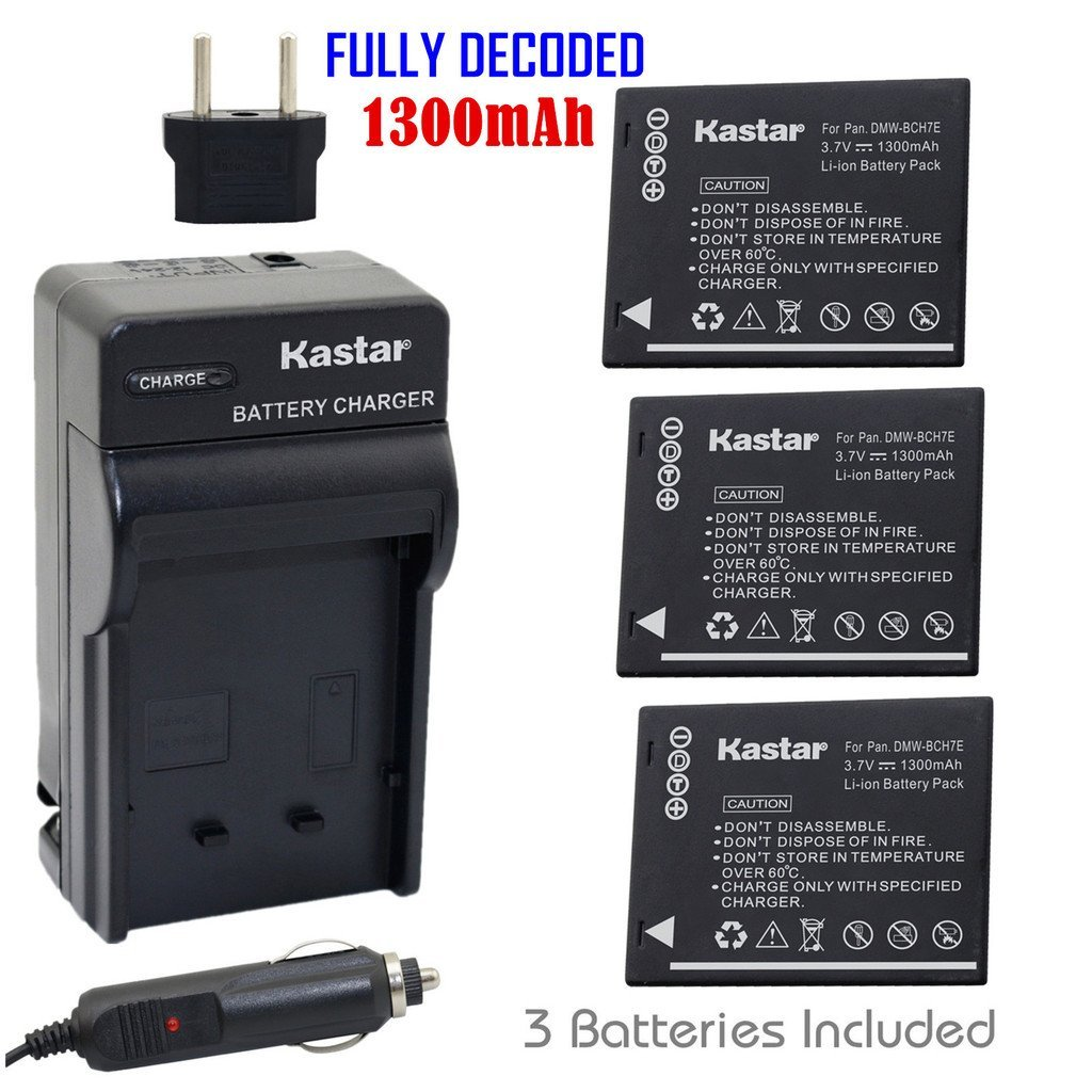 Kastar Battery (3-Pack) and Charger Kit for Panasonic DMW-BCH7, DMW-BCH7PP, DMW-BCH7E, DE-A76 work with Panasonic Lumix DMC-FP1, DMC-FP2, DMC-FP3, DMC-FT10, DMC-TS10 Cameras