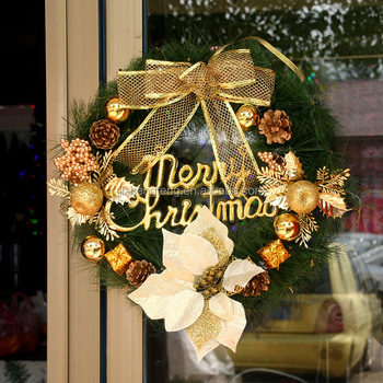 2017 high quality decorative christmas wreath 40cm gold christmas wreaths xmas wreath for christmas