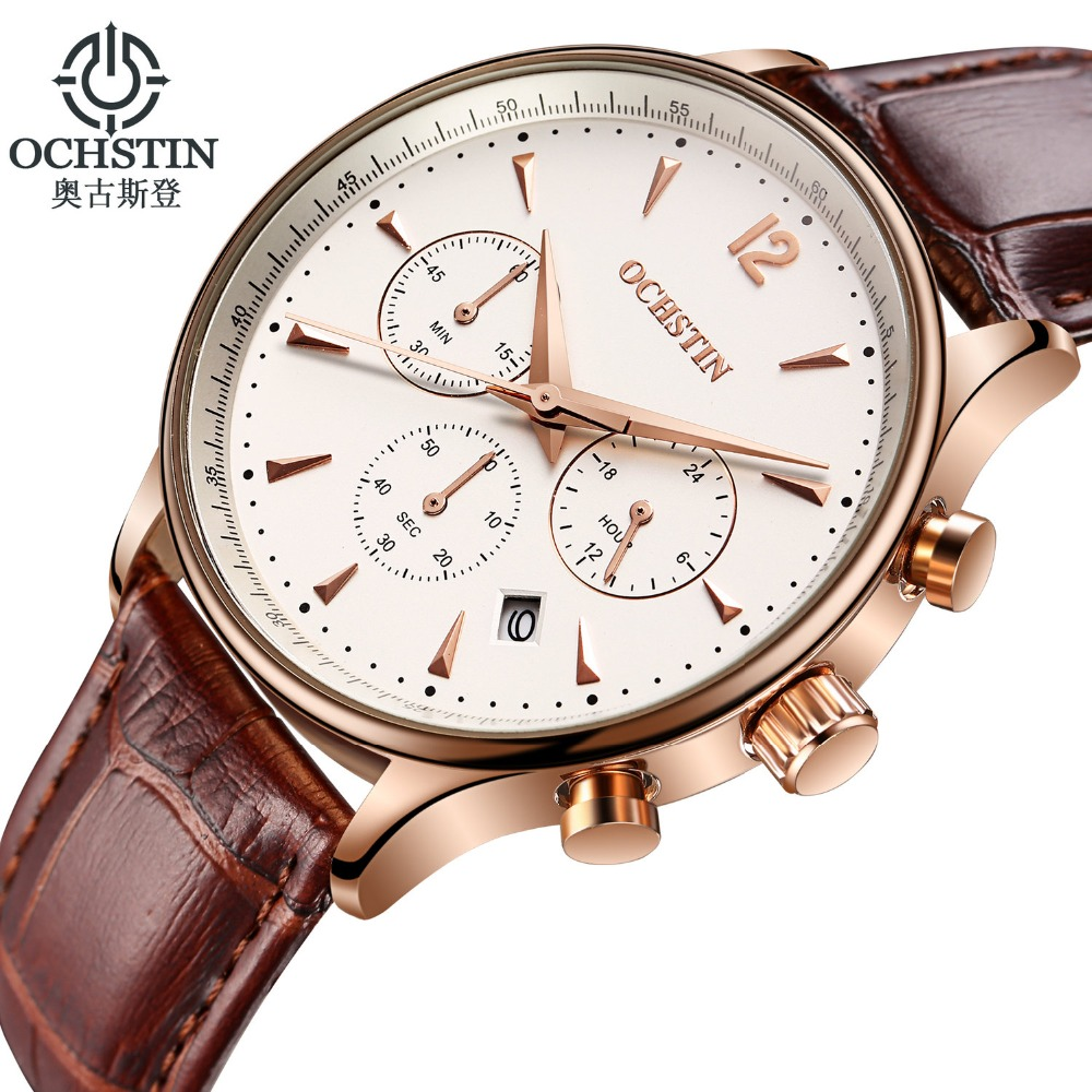 2017 Mens Top Brand Luxury OCHSTIN Men Military Sport Wrist Watch Chronograph Leather Quartz Ochstin Watch