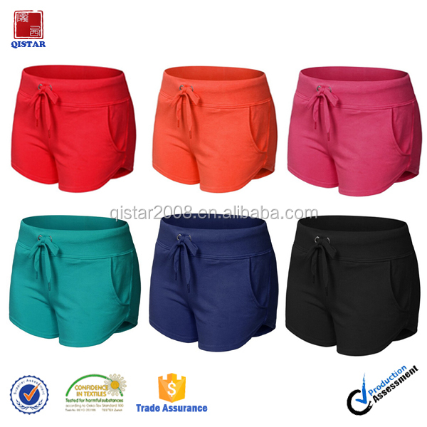 Cotton Fleece Gym Fitness Shorts Plain Bodybuilding Gym Shorts For Women