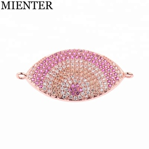 Copper accessories bracelet wholesale Devil's Eye charm CZ micro pave indian charms for jewelry making