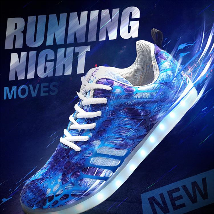 Wholesale light up Led shoes,USB recharge Led sneaker,7 different light color led shoes with control