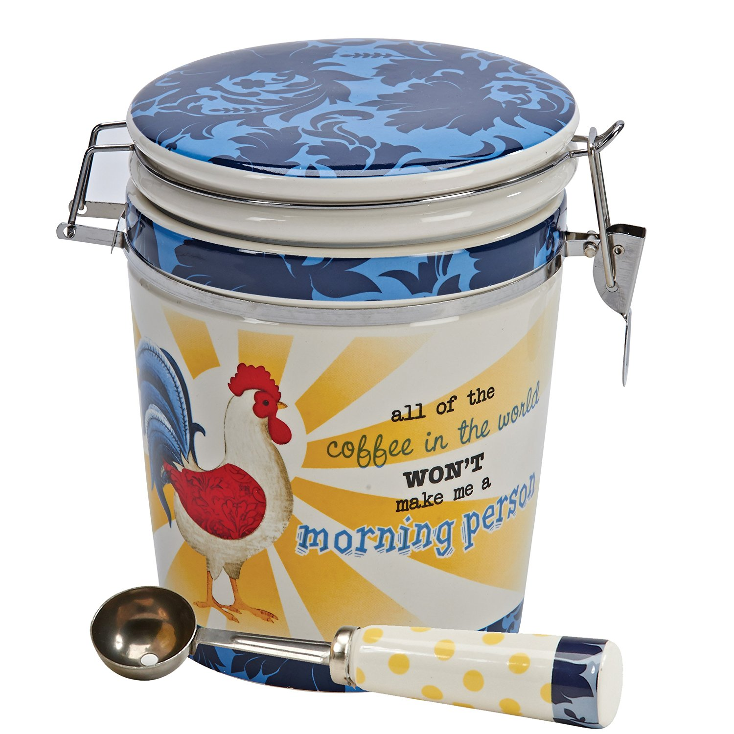 Boston Warehouse Coffee Canister and Scoop Set, Damask Rooster