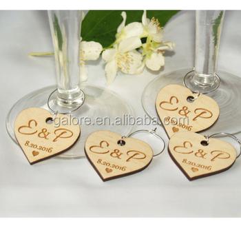 Gwn100 Custom Design Personalized Wedding Favors Wooden Wine Charms - Buy  Wine Charms,Wooden Wine Charms,Wedding Favors Wooden Wine Charms Product on