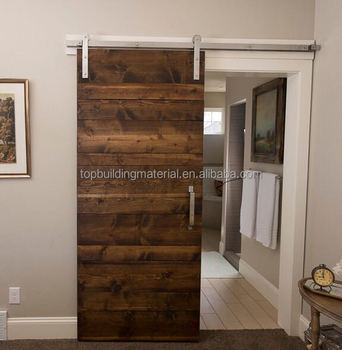 Horizontal panel walnut barn door