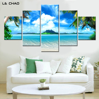modern seascape canvas printed painting 5 panels wall art pictures for home decor