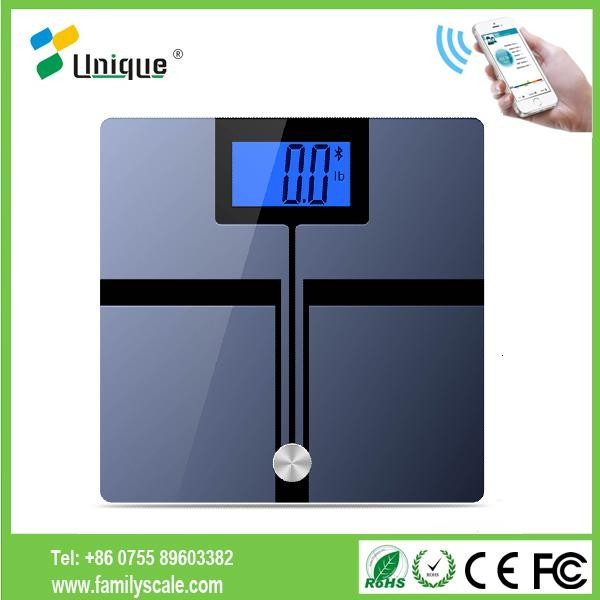 180kg Fashion Bluetooth wireless led body fat electronic bathroom weighing scales