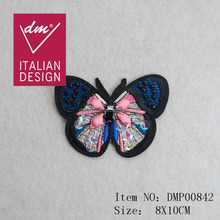 Beautiful beaded PINK butterfly embroidery patch for wholesale products