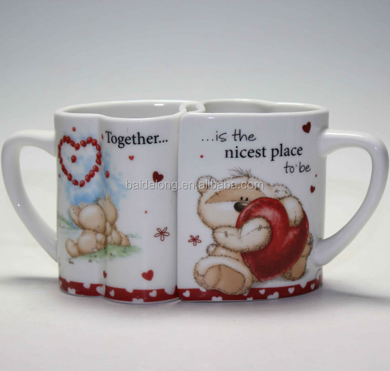 Love Heart Tea Cup Ceramic Heart Double Cup