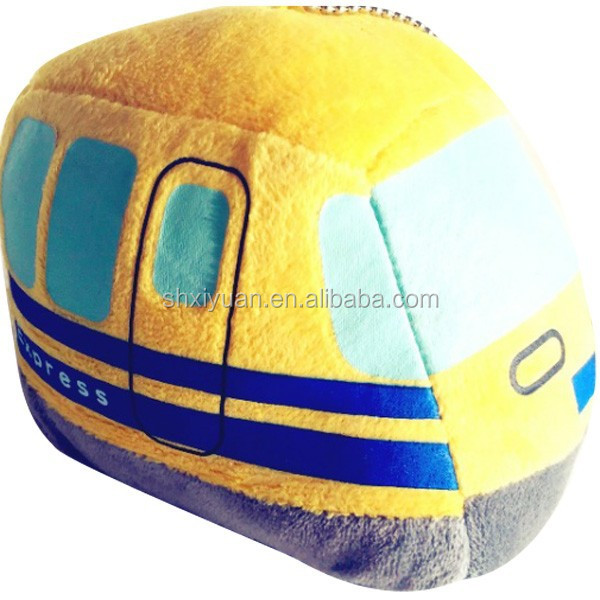 Plush Bus Stuffed Toy Yellow Car Promotional Toy Car Keychain