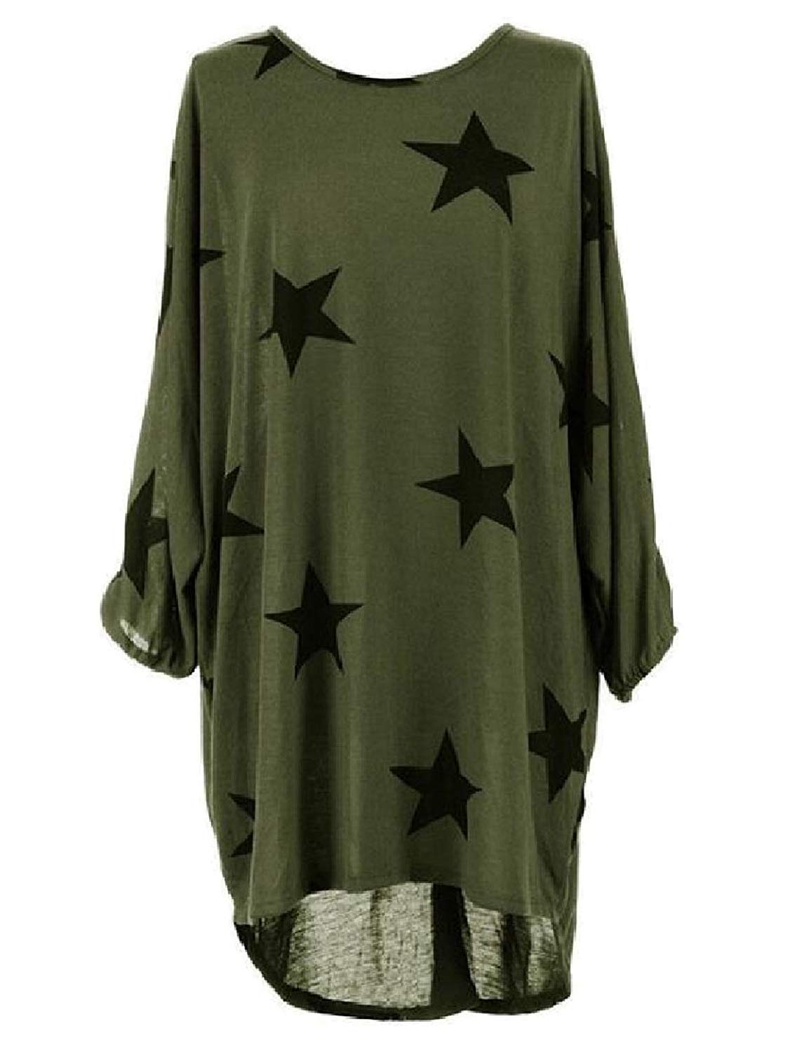 Zimaes-Women Crew-Neck Plus Size Baggy Asymmetric Hem Flower Printed Long-Sleeve Tshirt Dress