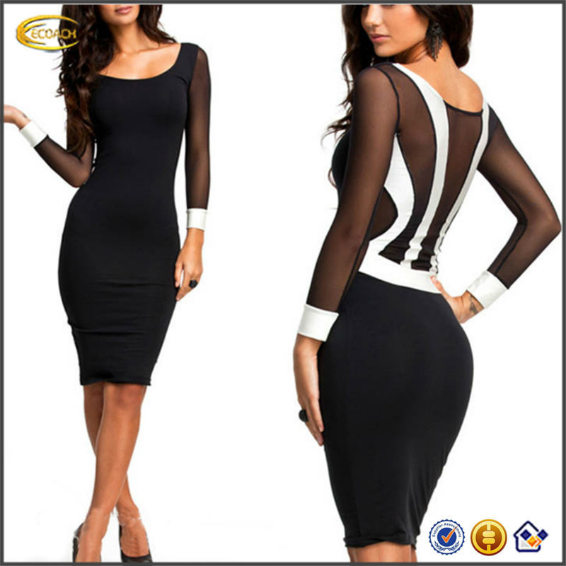 OEM supplier China Fashion wholesale Womens Sexy Sheath Mesh Long Sleeve Party Evening bandage dress