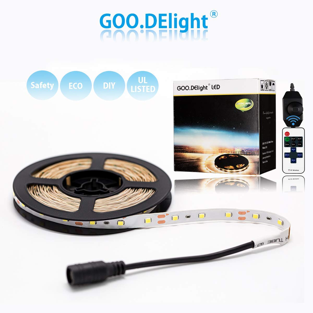 Led Strip Lights, Led Tape Lights with Remote Control Dimmable Power Supply led Lights , Warm White 16.4 ft Led Rope Lights for Indoor Outdoor Christmas Holiday Party Wedding Car TV Bar Home Kitchen