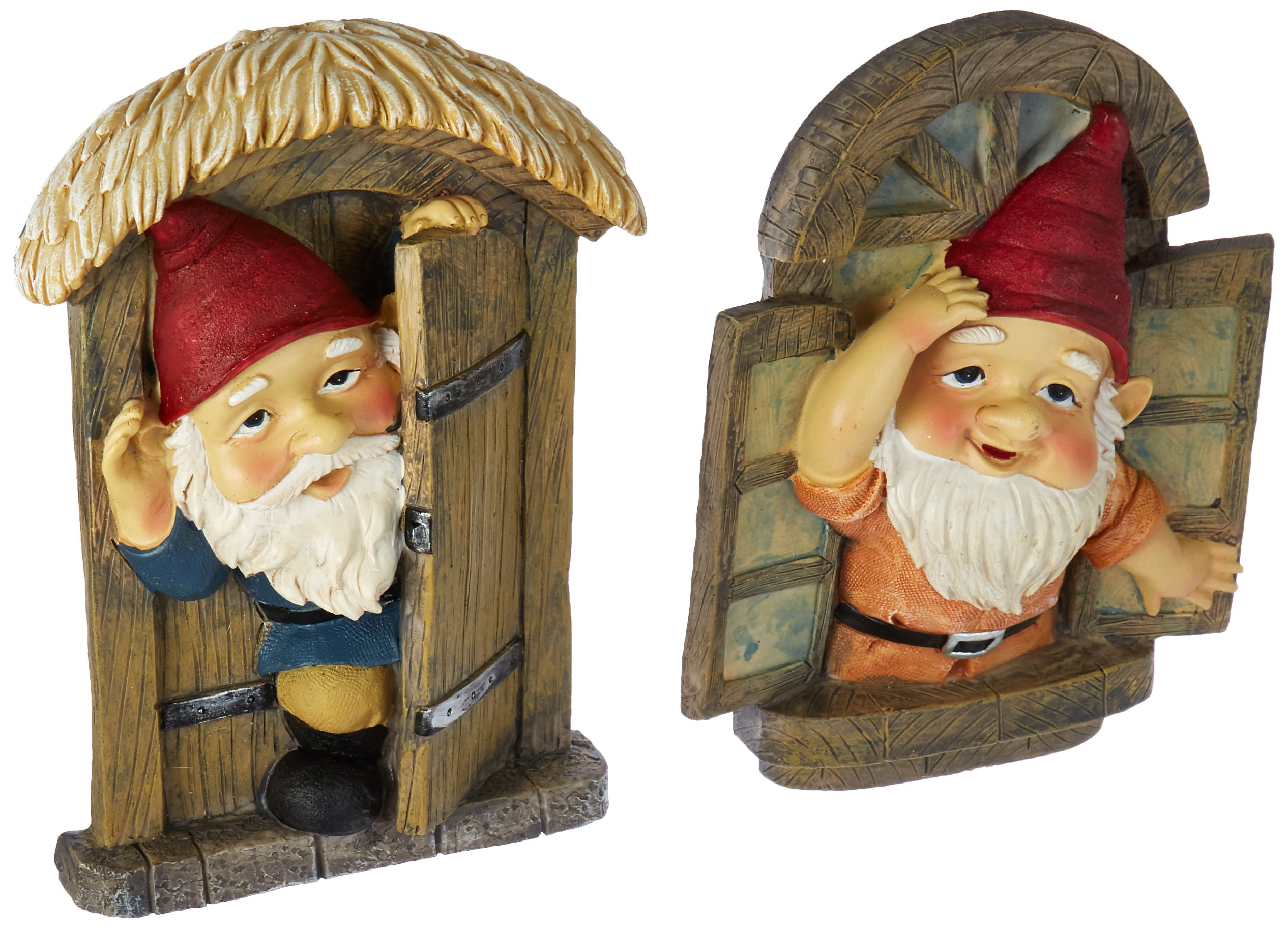 Design Toscano Garden Gnome Statue - Knothole Welcome Gnomes - Gnome Tree Door & Window Set - Fairy Garden - Gnome Village