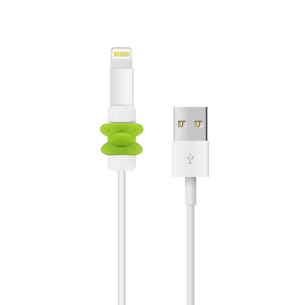 BUTEFO 2 Pcs Charging Cable Protector Saver - Apple iPhone USB Lightning Cable Protector - Protect Apple Original USB Data Cord - Perfect for Travel & On-the-go (Bowknot Type - Green)