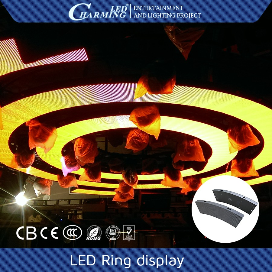 Charming colorful led ring light back wall circle display screen for disco