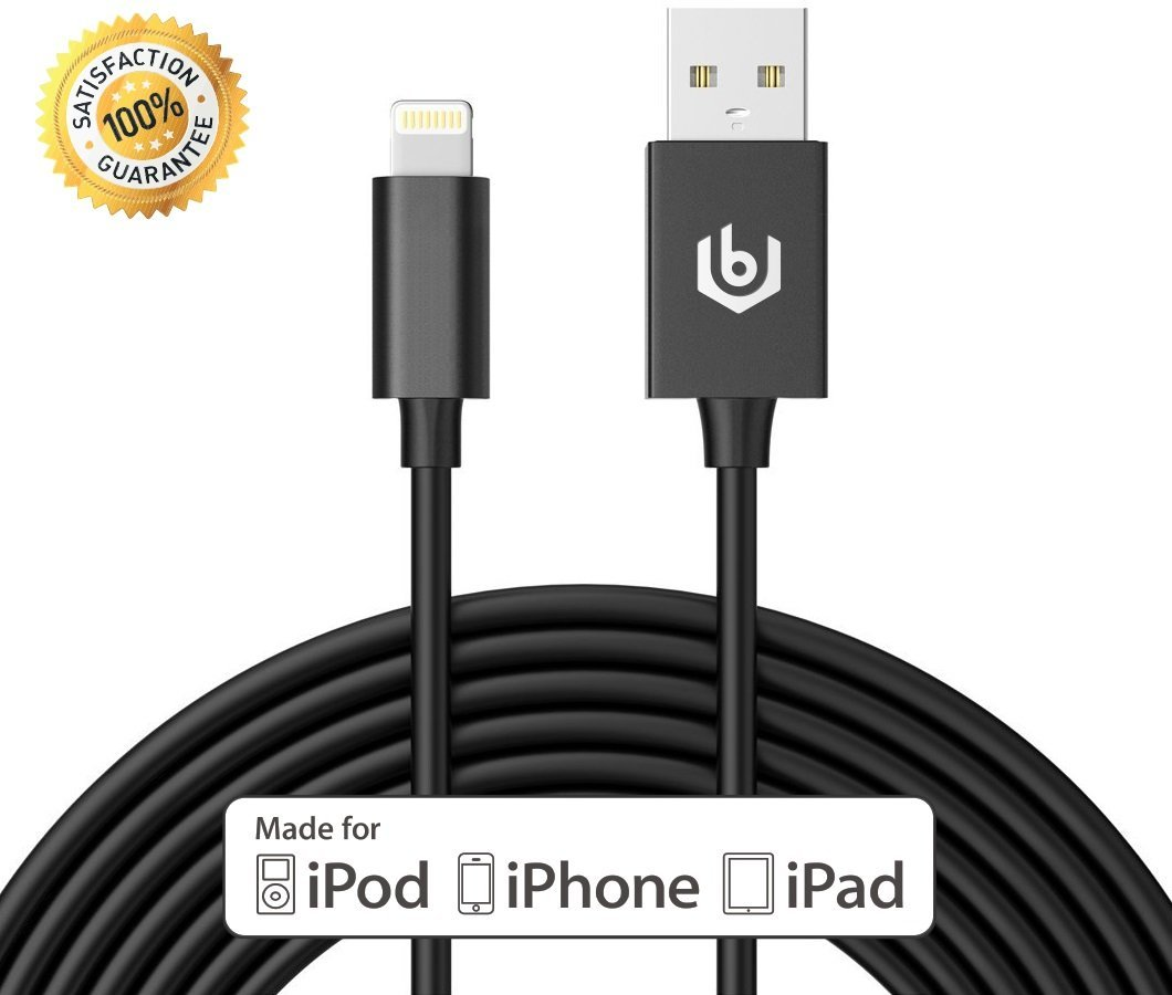 [Apple MFI Certified] 10ft Lightning Cable, iPhone Charger, Most Toughest and Durable 8pin Charging Cord Made for iPhone, iPad, and iPod (Black)