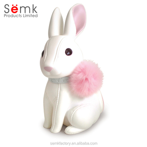 Custom plastic pvc rabbit money saving box coin bank for kids toy