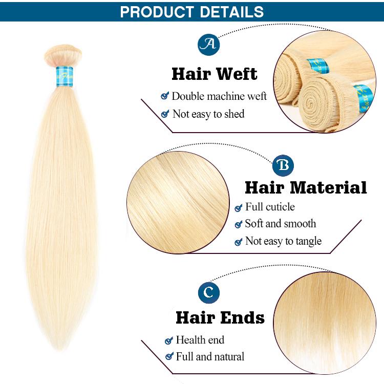 Raw bionda 613 di remy del virgin dei colori dei capelli di estensioni di tessitura, biondo platino dei capelli umani di estensione treccia